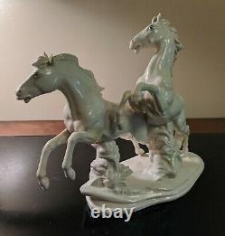 Karl Ens Porcelain Galloping Horses Germany Big Figurine Orig. 12 x 9.5 VTG