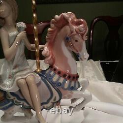 LLADRO PORCELAIN FIGURINE GIRL ON CAROUSEL HORSE #1469 Mint