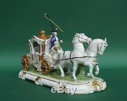 Large Antique Dresden Unterweissbach Horse Drawn Carriage Porcelain Statue
