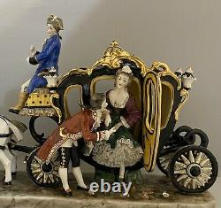 Large German Dresden porcelain Horse And Carriage