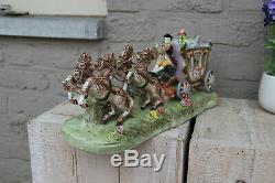 Large German porcelain carriage coach princess 4 horses Statue group