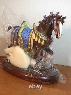 Lenox Clydesdale Christmas Porcelain Carousel Horse Wood Base Figurine 8 H New
