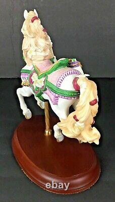 Lenox1993 Porcelain The Carousel Christmas Horse Poinsettias Wood Pedestal