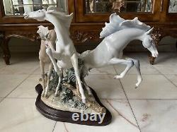Lladro -Born Free Horses Sculpture Figurine Collectibles. Wood Base Included