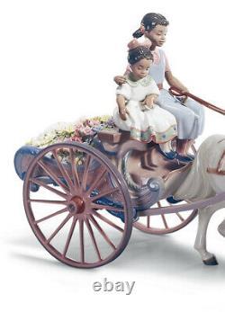 Lladro FLOWER WAGON 01001784 porcelain piece Horse Carriage Black Legacy