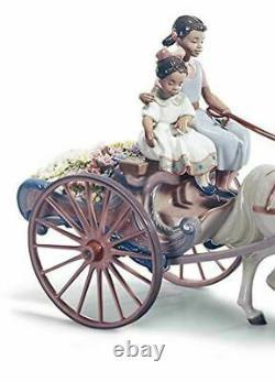 Lladro Porcelain Figurine Flower Wagon 01001784