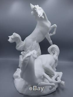 Lladro Two Horses Playing Porcelain Figurine 4597 White Matte Finish Early Mark