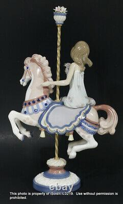 Lot 2 Lladro Porcelain Carousel Figurine Girl And Boy On Horse #1469 #1470