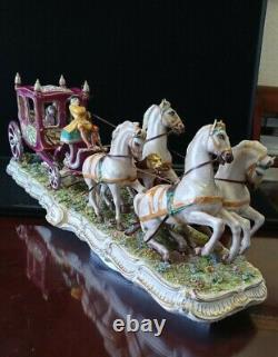 Luigi Fabris Large Porcelain Dresden Coach Horses Carriage. 28