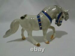 Monrovia Hagen Renaker White Circus Pony Horse w Blue Trim Orig Label