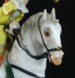 N016 Meissen Porcelain Figure Of A Saxon Soldier On Horse With Trumpet