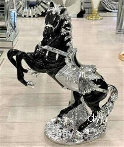 NEW XXL Black & Silver Italian Horse Ornament Decor Romany Ceramic 64cm Home uk