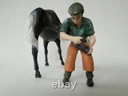 North Light Farrier and Dark Grey Horse Figurine Statue Wade England Porcelain