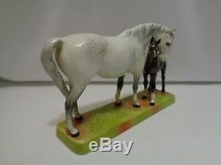 Orig Beswick England Dapple Grey Glossy Mare & Foal Horse Porcelain