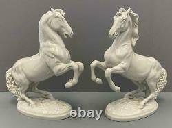 Pair Antique Royal Vienna Augarten Wien White Porcelain Stallion Horse Figures