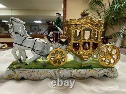 Porcelain Antique Horse and Carriage with Princess