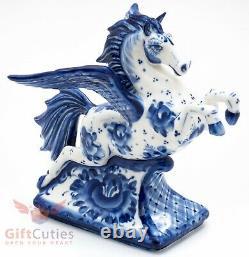 Porcelain Gzhel handmade Figurine of winged horse pegasus rearing up