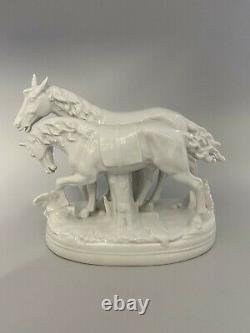 Porzellanfigur Pferde Pferdegruppe Tettau Gespann Horse Porcelain Figurine