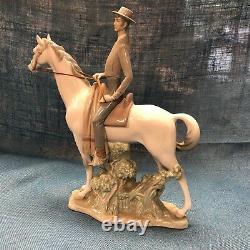 Rare Large Lladro Man on Horse Figurine