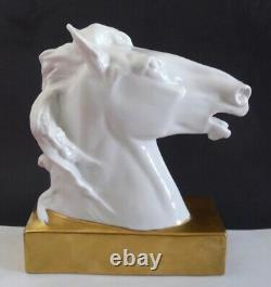 Rare Sign VA Vista Alegre Portugal Deco Porcelain Horse Head Figurine Sculpture
