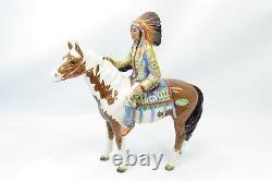 Rare Vtg Beswick England Indian Chief Paint Pinto Horse Porcelain Figurine