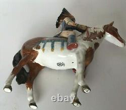 Rare Vtg Beswick England Indian Native Pinto Horse Porcelain Figurine restored