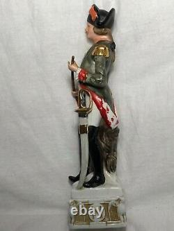 Regency Style Porcelain Napoleonic Cavalry Soldier Officer With Sword Figurine