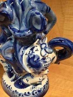 Russian Gzhel Decanter 4 Vodka Hussar Horse Flower Porcelain Figurine Hand Made