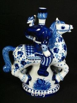 Russian Gzhel Decanter Solder On Horse Porcelain Figurine White Blue Floral