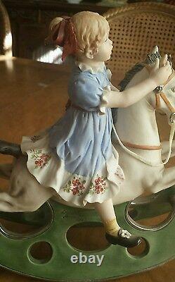 Sandro Maggioni Magnificent 1974 Porcelain Capodimonte Girl on a Rocking Horse