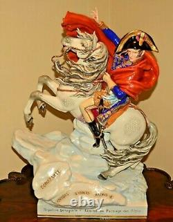 Scheibe Alsbach Original TALL Antique Porcelain Polychrome Napoleon Horse Statue