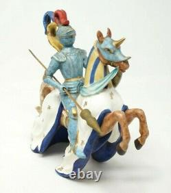 Set of 2 Ugo Zaccagnini Capodimonte Knight Horse Figurine Sculpture Porcelain
