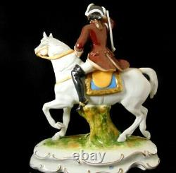 Sitzendorf, Germany Scheibe Alsbach Porcelain Figurine Soldier on Horse
