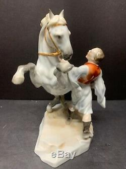 VTG Herend Hungary Man Training Horse Figurine Large Porcelain 10 IN Tall