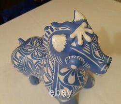 Vintage 70s Pablo Zabal Chile LARGE Pottery Art Ceramic Porcelain Horse BLUE ZOO