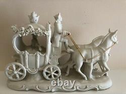 Vintage Ackermann Fritze Porcelain Horse Drawn Carriage -white matte 13 x 8