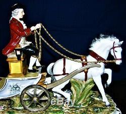 Vintage Beautiful Vittorio Sabadin Horse Drawn Carriage Porcelain Sculpture