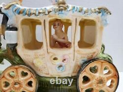 Vintage Capodimonte Heinz-Volkstedt Style German Porcelain Horse Carriage