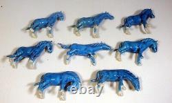 Vintage Chinese turquoise porcelain horses full set of 8 circa 1950 -70 unused
