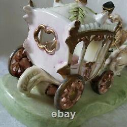 Vintage Dresden Capodimonte Horse & Carriage Porcelain Figurine Gorgeous Marked
