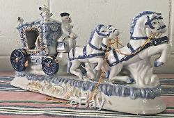 Vintage German porcelain carriage coach princess horses figurines statue / Music