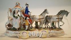 Vintage Grafenthal German Porcelain Figurine With4 Horses and Carriage