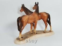 Vintage Hertwig Germany Two Horses Figurine Large Porcelain Horse Statue