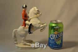Vintage Hutschenreuther German Porcelain Figurine Lipizzan Horse and Rider