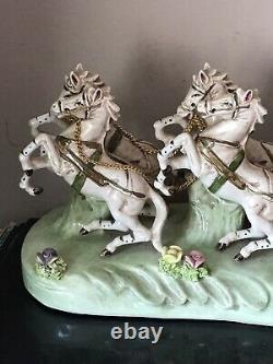 Vintage Porcelain CAPODIMONTE ITALY Cinderella Horse Drawn Carriage Coach Driver