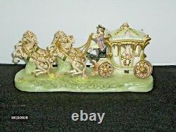 Vintage Porcelain Victorian Capodimonte Type Cinderella Horse Drawn Carriage