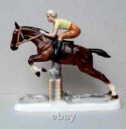 Vintage Rare Figurine A Knight on Horse Porcelain sculpture Competitor Germany