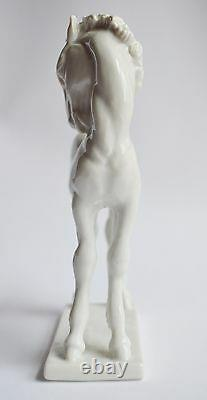 Vintage Rosenthal White Porcelain Statue Standing Foal Horse by Willi Münch-Khe