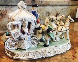 Vintage Victorian horse carriage porcelain figurine Japan 1970's hand painted
