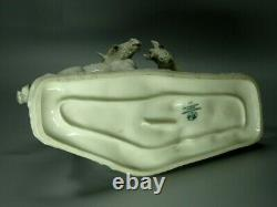 Vintage White Horses Porcelain Figurine Hutschenreuther Germany 1965 Art Decor